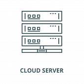 Cloud Server Line Icon, Vector. Cloud Server Outline Sign, Concept Symbol, Flat Illustration poster