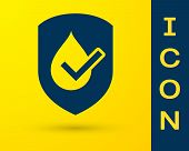Blue Waterproof Icon Isolated On Yellow Background. Water Resistant Or Liquid Protection Concept. Ve poster