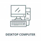 Desktop Computer, Workstation Line Icon, Vector. Desktop Computer, Workstation Outline Sign, Concept poster
