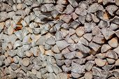 Firewood Background, Wall Firewood, Background Of Dry Chopped Firewood Logs In A Pile poster