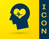 Blue Male Head With A Heartbeat Icon Isolated On Yellow Background. Head With Mental Health, Healthc poster