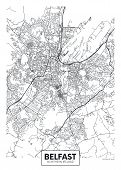 Vector Poster Detailed City Map Belfast Detailed Plan Of The City, Rivers And Streets poster