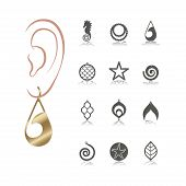 12 Vector Designs Of Earring. Cutout Silhouette With Beach Pattern. Template Is Suitable For Creatin poster