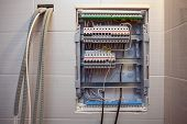 Voltage Switchboard With Circuit Breakers Are  In The On And Of Positions In The Big Electric Box Or poster