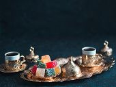 Turkish Coffee With Delight And Traditional Copper Serving Set On Dark Background. Assorted Traditio poster