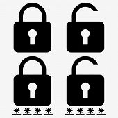 Secure Password Lock Icon Vector Eps10. Open And Closed Lock With Password Stars. poster
