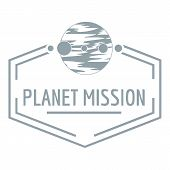 Planet Mission Logo. Simple Illustration Of Planet Mission Logo For Web poster