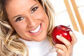 Постер, плакат: Женщина с яблоком