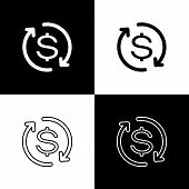 Set Return Of Investment Icons Isolated On Black And White Background. Money Convert Icon. Refund Si poster