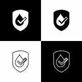 Set Waterproof Icons Isolated On Black And White Background. Water Resistant Or Liquid Protection Co poster