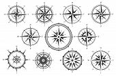 Wind Rose. Map Directions Vintage Compass. Ancient Marine Wind Measure Vector Icons Isolated. Isolat poster