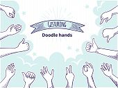Doodle Hands Like Dislike. Happy Client Hand Drawn Concept, Thumb Up And Disagree Business Sketch. V poster