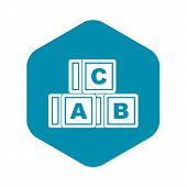Abc Cubes Icon. Simple Illustration Of Abc Cubes Vector Icon For Web poster