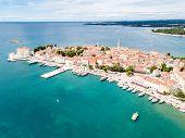 Croatian Town Of Porec, Shore Of Blue Azure Turquoise Adriatic Sea, Istrian Peninsula, Croatia. Bell poster