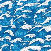 Storm Waves Seamless Pattern. Raging Ocean Water, Sea Wave And Vintage Japanese Storms Print Vector  poster