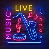 Music Neon Sign. Glowing Karaoke Banner, Live Music Light Emblem, Disco Club Retro Poster. Vector Mu poster