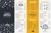 Hand Drawn Restaurant Menu. Food Cooking Vintage Template, Doodle Breakfast And Diner Cafe Flyer. Ve poster