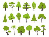 Big Set Of Various Trees. Tree Icons Set In A Modern Flat Style. Pine, Spruce, Oak, Birch, Trunk, As poster