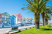 Costa Nova, Portugal: Colorful Striped Houses Called Palheiros With Red, Blue And Green Stripes. Cos poster