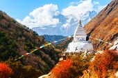 Buddhist Stupa In Autumn Himalaya Mountains. Khumbu Valley, Everest Region, Nepal poster