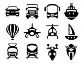 Set of simple transport icons.