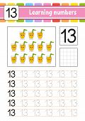 Learning Numbers For Kids. Handwriting Practice. Education Developing Worksheet. Activity Page. Game poster