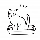 Cartoon Cat Pooping In Litter Box. Cute And Funny Kitty Drawing. Pet Life Vector Illustration. poster
