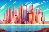 Future Metropolis Downtown, Modern City Business Center Cartoon Vector Background With Futuristic Ar poster