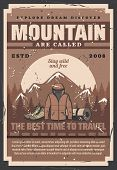 Mountain Outdoor Adventure, Forest Camp, Travel Expedition And Trekking Activity Retro Vector Poster poster