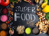 Super Food Selection. Various Super Foods And Healthy Foods poster