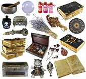 Design Set With Old Books, Ancient Manuscript,  Witch Herbs, Potion Isolated On White. Wicca, Esoter poster