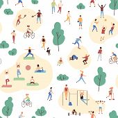 Seamless Pattern With Crowd Of People Performing Healthy Activities And Playing Sports Games In Park poster