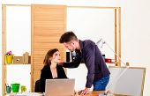 Falling In Love In Office. Workplace Romance Of Handsome Man And Sexy Woman In Office. Couple In Lov poster