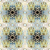 Seamless Classic Vector Golden Pattern. Seamless Pattern On Neutral, White And Blue Colors With Gold poster