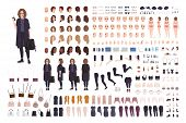 Fashionable Teenage Girl Avatar Constructor Kit. Set Of Body Parts, Clothes And Accessories. Trendy  poster