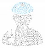 Mesh Army General Polygonal 2d Illustration. Abstract Mesh Lines And Dots Form Triangular Army Gener poster