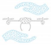 Mesh Airdrone Care Hands Polygonal Icon Illustration. Abstract Mesh Lines And Dots Form Triangular A poster