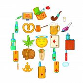 Bad Habits Icons Set. Cartoon Set Of 25 Bad Habits Icons For Web Isolated On White Background poster