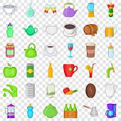 Beverage Icons Set. Cartoon Style Of 36 Beverage Icons For Web For Any Design poster