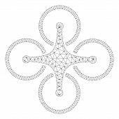 Mesh Airdrone Polygonal Icon Illustration. Abstract Mesh Lines And Dots Form Triangular Airdrone. Wi poster