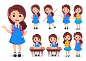 Student Girl Vector Character Set. School Kids Cartoon Characters Wearing Uniform And Backpack With  poster