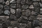 Stone Wall Background. Wall Cement Background. Old Cement Texture. Concrete Surface. Black Dark Back poster