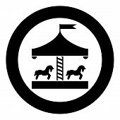Carousel Roundabout Merry-go-round Vintage Merry-go-round Icon In Circle Round Black Color Vector Il poster