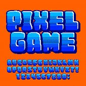 Pixel Game Alphabet Font. Digital Pixel Gradient Letters And Numbers In Blue Colors. 80s Retro Arcad poster