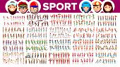 Athlete Set Vector. Man, Woman. Group Of Sports People In Uniform, Apparel. Character In Game Action poster