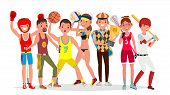 Summer Sports . Set Of Players In Boxing, Hiking, Basketball, Volleyball, Golf, Lacrosse, Baseball.  poster