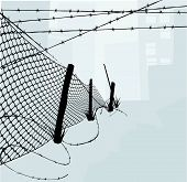 stock photo of chain link fence  - Chain link fence and barbed wire vector illustration background or design elements - JPG