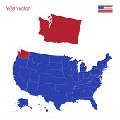 The State Of Washington Is Highlighted In Red. Blue Vector Map Of The United States Divided Into Sep poster