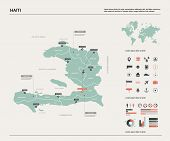 Vector Map Of Haiti.  High Detailed Country Map With Division, Cities And Capital  Port-au-prince. P poster