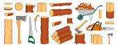 Set Of Wood Logs, Trunks, Stump And Planks. Woodcutter Or Lumberjack Tools. Forestry. Firewood Logs. poster